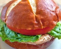 O-J-I Grilled Chicken on Pretzel Roll ~ Sawmill Bar & Grill, Millinocket, Maine
