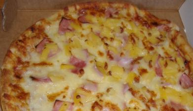 The Vacationland Hawaiian Pizza! Sawmill Bar & Grill, Millinocket, Maine
