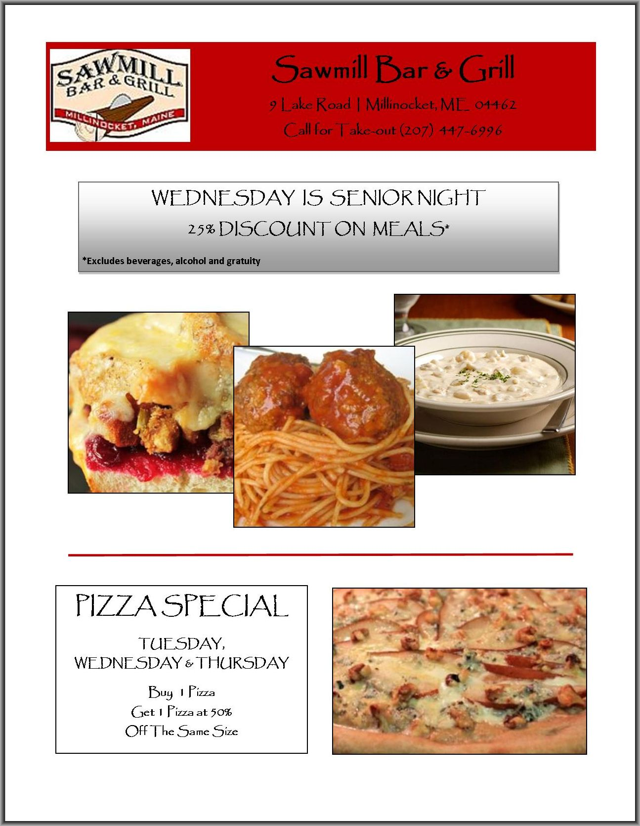 Sawmillmill Bar & Grill Senior & Pizza Specials